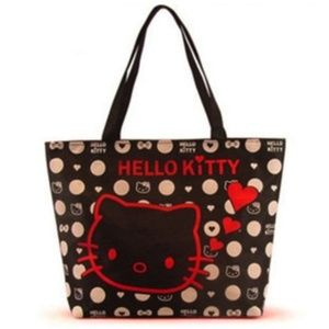 Hello Kitty Black Canvas Tote Kitty w/ Red Hearts